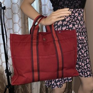 Authentic Hermes Tote Bag  Reds Canvas